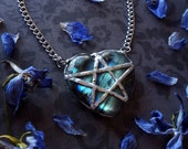 Labradorite Necklace - Labradorite Heart Pendant with Silver Chain - Star Pentacle Heart Necklace - Labradorite Crystal Necklace