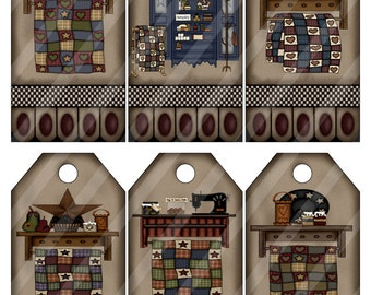 Quilt Racks 1 Digital Collage Sheet Tags