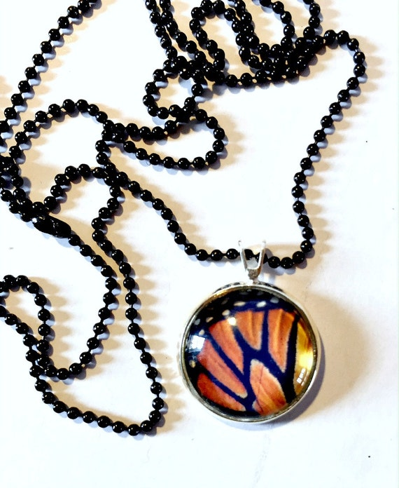 Monarch Necklace, Monarch Butterfly Wing Pendant, 16mm Black Orange Butterfly Pendant with 24 inch Black Chain, Butterfly Necklace