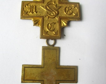 Vintage antique Fraternal badge medal pin United Order of the Golden Cross brass cross scroll and quill parts collect or upcycle