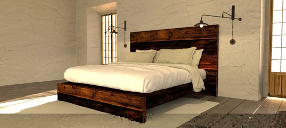 Asian Style Low Platform Bed from Reclaimed by BarnWoodFurniture