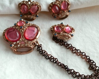 1940s Crown Chatelaine Pin Earrings Set, pink lucite cabs, screw back, vintage costume jewelry