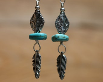 Dangle Earrings with turquoise beads, feathers, silver plated wire.