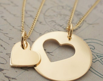 Gold Filled Mother Daughter Jewelry - Custom Heart Necklace Set in 14K GF - Mother's Jewelry Gifts for Mom and Daughter