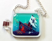 Sunken Ship clear acrylic charm necklace