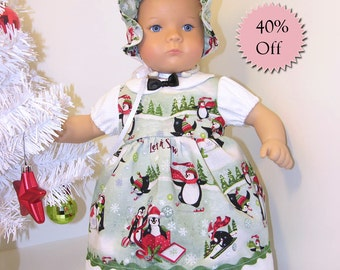 Bitty Baby Christmas Dress with Bonnet- Penguin Playground **Sale**