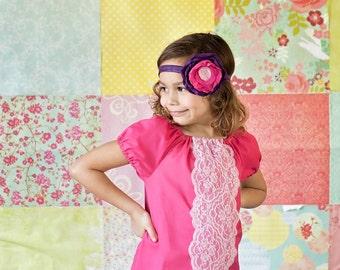 Pink Peasant dress, Girl's lace dress, Summer dress, Spring dress, infant dress, toddler dress, Bohemian dress, sizes Newborn through  6X