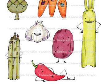 Happy talking veggies illustrations