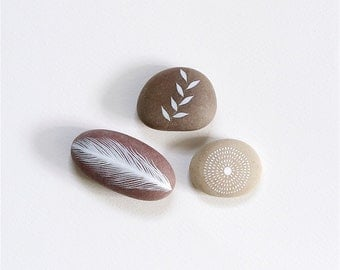 Whisper 24 - Collection of 3 Painted Stones - Beach Pebble, Rock Art, Nature - by Natasha Newton