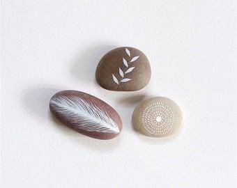 Whisper 24 - Collection of 3 Painted Stones - Beach Pebble, Rock Art, Nature - by Natasha Newton