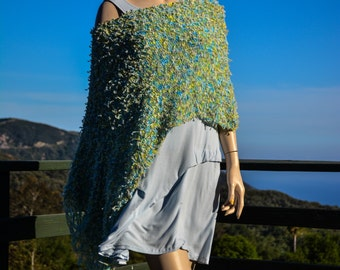 Fantasy Yarn Poncho Blue Green Yellow Spring Summer Women Knit Wrap