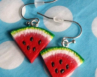 Watermelon Earrings - Polymer Clay Drop Earrings