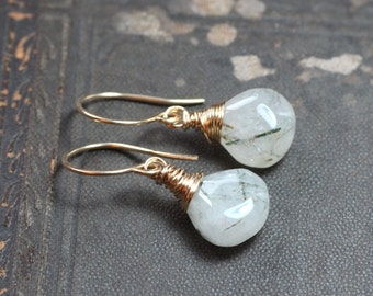 Tourmalinated Quartz Earrings Rustic Jewelry Gold Wire Wrapped Black and White Earrings
