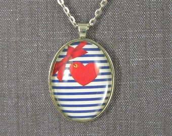 Red white and blue, heart, bow, glass pendant and chain