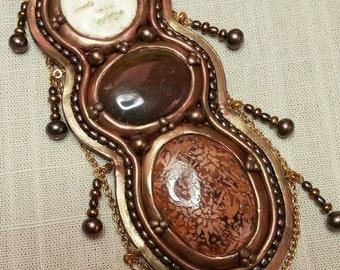 Polymer Clay Altar Shield Goddess Jasper Moon Pearls
