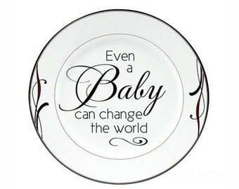 """Christmas Decorations Christmas Decal """"Even a Baby Can Change the World"""" DIY Glass Block Decal Sticker Tile or Plate Decal Holiday Wall Sign"""
