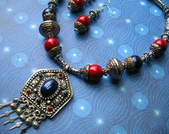 Gypsy's Fortune - red blue silver tribal necklace  earrings set