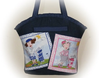 FREE Ship USA Canada - J Castle Boutique Bag - Denim Loralie Harris Lady Golfers Designer Fabric Golfing Gift - (Ready to Ship)