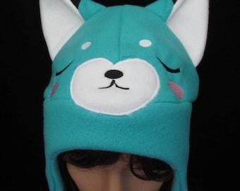 Fox Fleece Hat Sleepy Blue