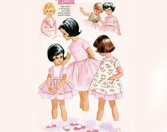 1960s Girls Accessory Dress Pattern Full Skirt Pinafore Apron Crop Jacket Weskit Easter Dress McCalls 5616 Size 4 Vintage Sewing Pattern