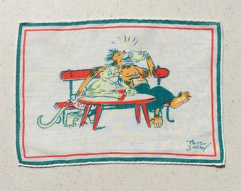 Vintage Textile Tony Sarg Drunken Monkeys Drinking on a Bench