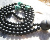Matte Black Onyx Mala with Turquoise Buddhas! - Prayer Beads - Buddhist Rosary