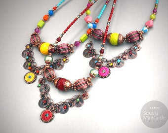 Statement Necklace, ethnic style, Czech beads, polymer clay, Swarovski rhinestones - sous la mansarde®, hippy, gypsy, woman gift, boho