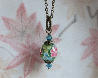 Floral Glass Necklace, Blue Crystals, Lampwork Glass Pendant, Brass Chain, Vintage Style, Lovely Flowers