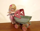 Vintage Toy Carriage Pink Green Metal Toy Baby Carriage Nursery Carriage Child's Toy Carriage