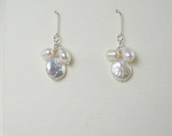 White Pearl Cascade Earrings Sparkly Cluster Earrings Short Pearl Cluster Drops Bridal Earrings Silver Dangle White Pearl Dangle Coin Pearl