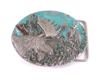 Moose Belt Buckle - Silver Blue Enamel Belt Buckle  - Animal Belt - Alaskan Woodland Vintage Accessories
