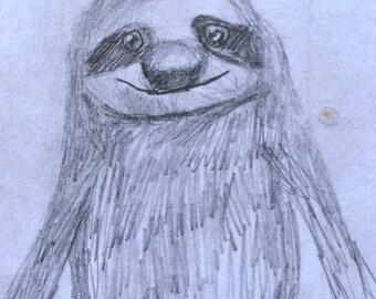 OOAK Original Sloth sketch Mounted onto Wooden Frame
