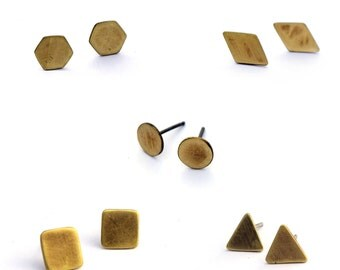 Small Brass Studs, Geometric Post Earrings, Everyday Earrings, Minimal Jewelry, Geometric Stud Earrings,Simple Earrings, Geometric Jewelry