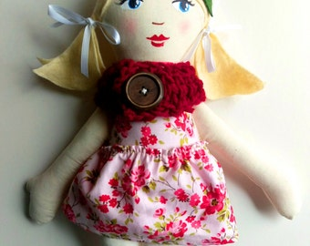 Handmade Cloth Doll, Blond Ponytails, Pink and Red, Rag doll, fabric doll, soft doll, christmas doll, gifts under 50, heirloom doll
