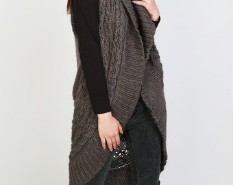 Hand knit long vest sweater Wool cadigan Brown woman sweater