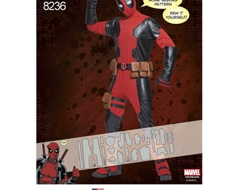 Men's Marvel Deadpool Costumes  -Simplicity 8236 - MARVEL Sewing Pattern - MENS Pattern ONLY sizes: 30/32 - 34/36 - 38/40 -42/44 -46/48