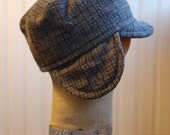 Woodsman XS: hat with earflaps in grey wool plaid, warm wool kids hat, winter hat for boy or girl, child's ear flap hat, cadet flap hat