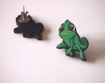 Pascal Chameleon from Rapunzel Laser Cut Wood Earrings