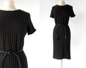 1960s Crochet Dress / 60s Black Dress / Vintage 1960s Dress / M L