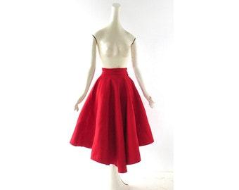1950s Full Skirt / Red Felt Skirt / 50s Skirt / Bobbie Brooks / 21W