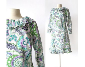 Vintage 1960s Dress / Pierrot Paisley Dress / 60s Mod Dress / M L