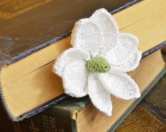 Handmade Bookmark Crochet Flower Bookmark Magnolia Bloom Mississippi state flower Cotton Thread Fiber Bookmark