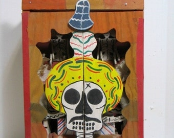 Vintage Day of the Dead Skeletons Retablo Diorama Mechanical Puppet Show Wood Folk Art Mardi Gras Mexican Automatom