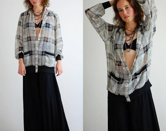 Vintage Black and White Sheer Plaid Slouchy Draped Blouse (one size)