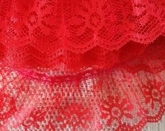002 ~ Christmas Red lace Red trim