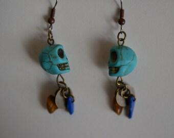 Turquoise, Lapis & Tiger Eye Skull Earrings  ~Unique~