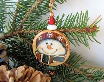 Snowman Christmas Ornament Wooden Decoration Festive Holiday Decor Rustic Decor Folk Art Eco Friendly Xmas Tree Decoration Decoupage Wood