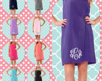 Bridesmaid Monogrammed SPA DAY wrap    , WAFFLE wedding wraps  , embroidered spa wraps , personalized bath  towels , sorority gifts