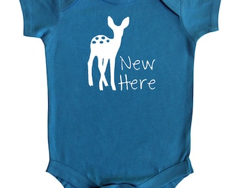 """Fawn """"New Here"""" Baby Bodysuit"""