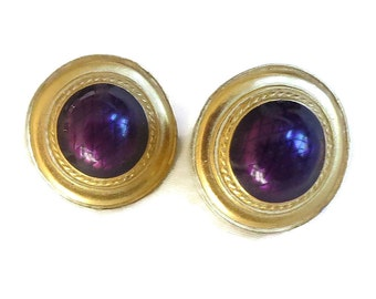 Eggplant Purple Cabochon Button Earrings Vintage signed Liz Claiborne